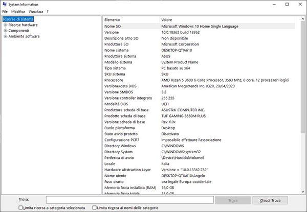 information system - vedere componenti pc